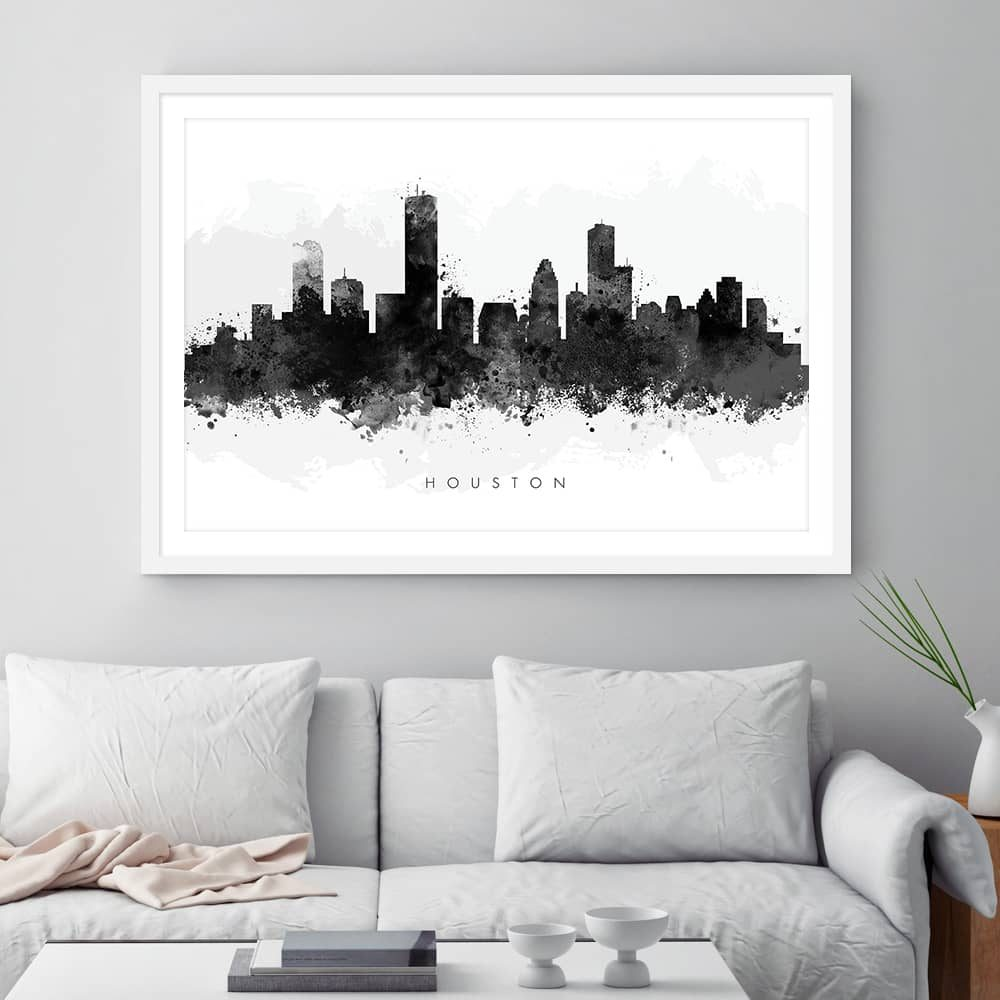 houston skyline black white watercolor print framed
