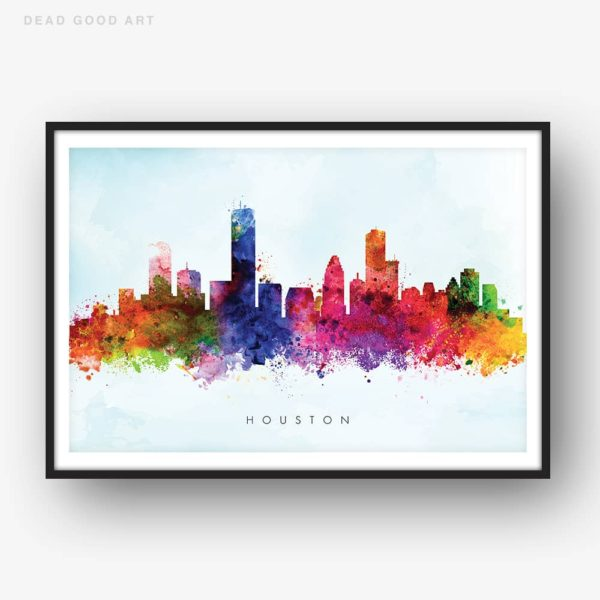 houston skyline blue wash watercolor print