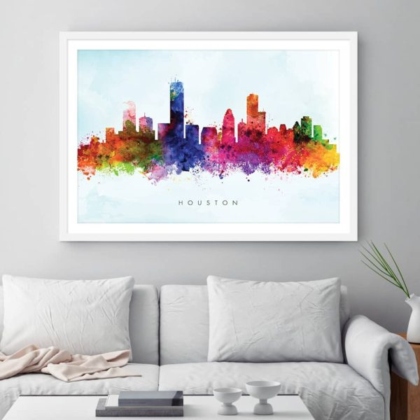 houston skyline blue wash watercolor print framed