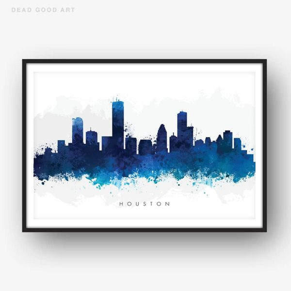 houston skyline blue watercolor print