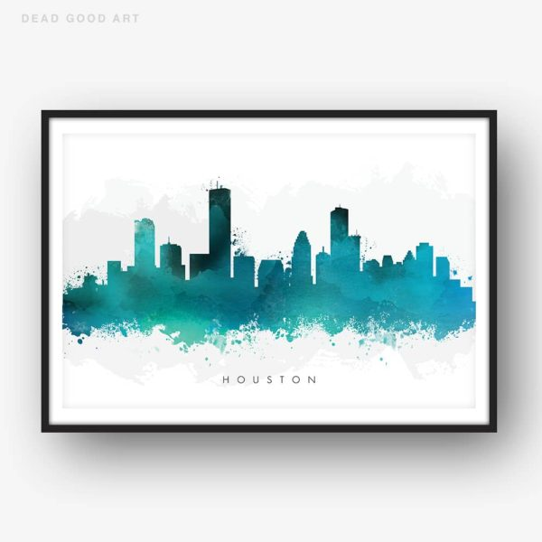 houston skyline green watercolor print