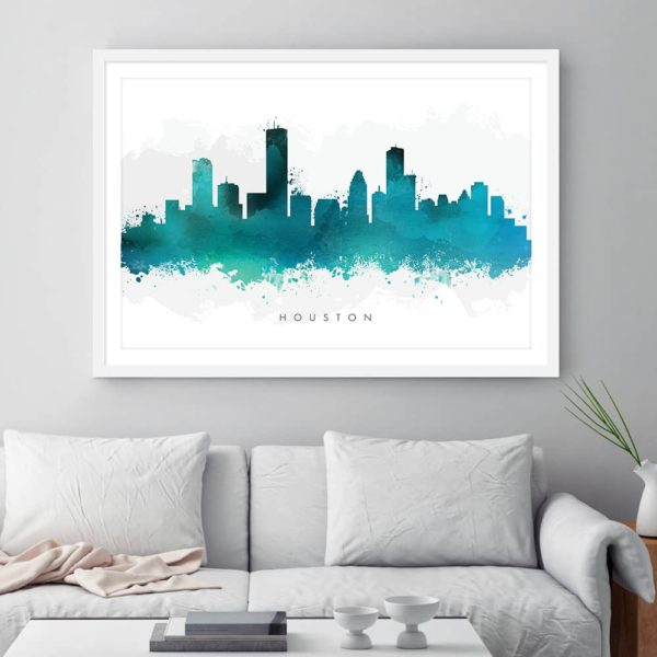 houston skyline green watercolor print framed