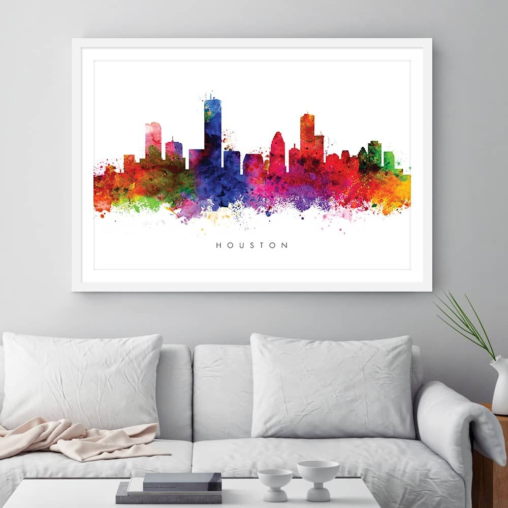 houston skyline multi color watercolor print framed