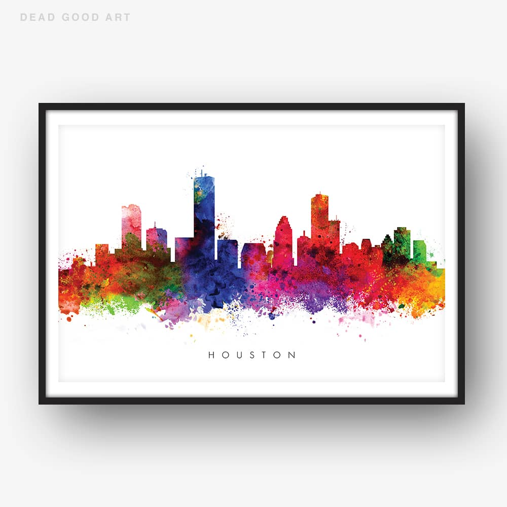 houston skyline multi color watercolor print