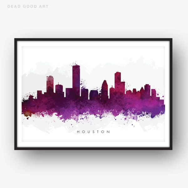 houston skyline purple watercolor print
