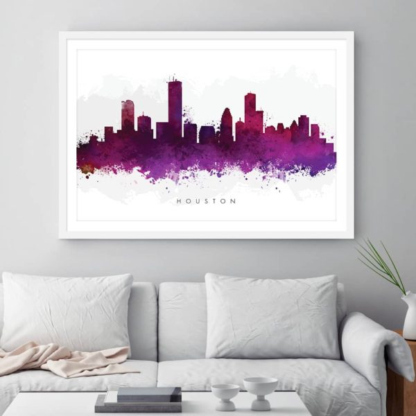 houston skyline purple watercolor print framed