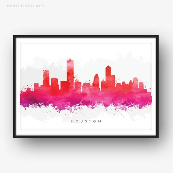 houston skyline red watercolor print