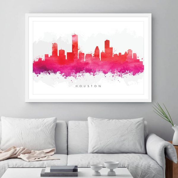 houston skyline red watercolor print framed