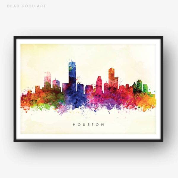 houston skyline yellow wash watercolor print