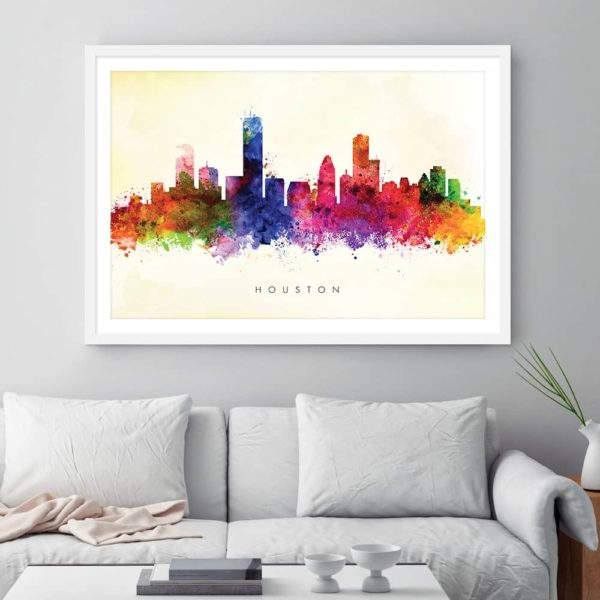 houston skyline yellow wash watercolor print framed