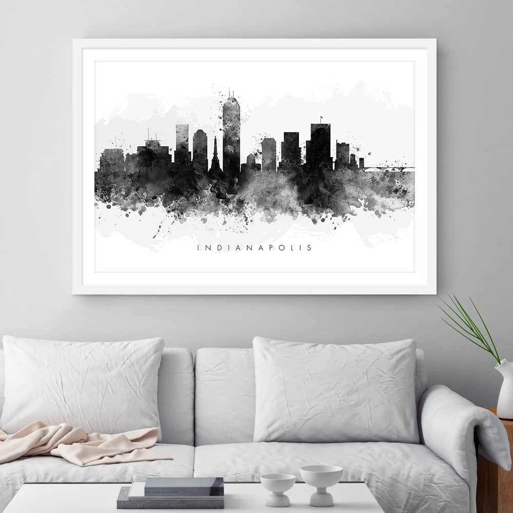 indianapolis skyline black white watercolor print framed