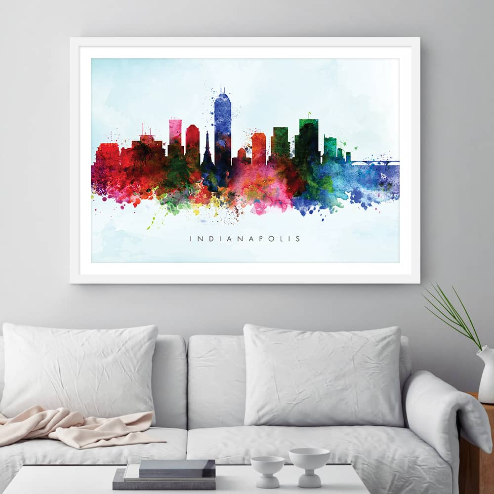 indianapolis skyline blue wash watercolor print framed