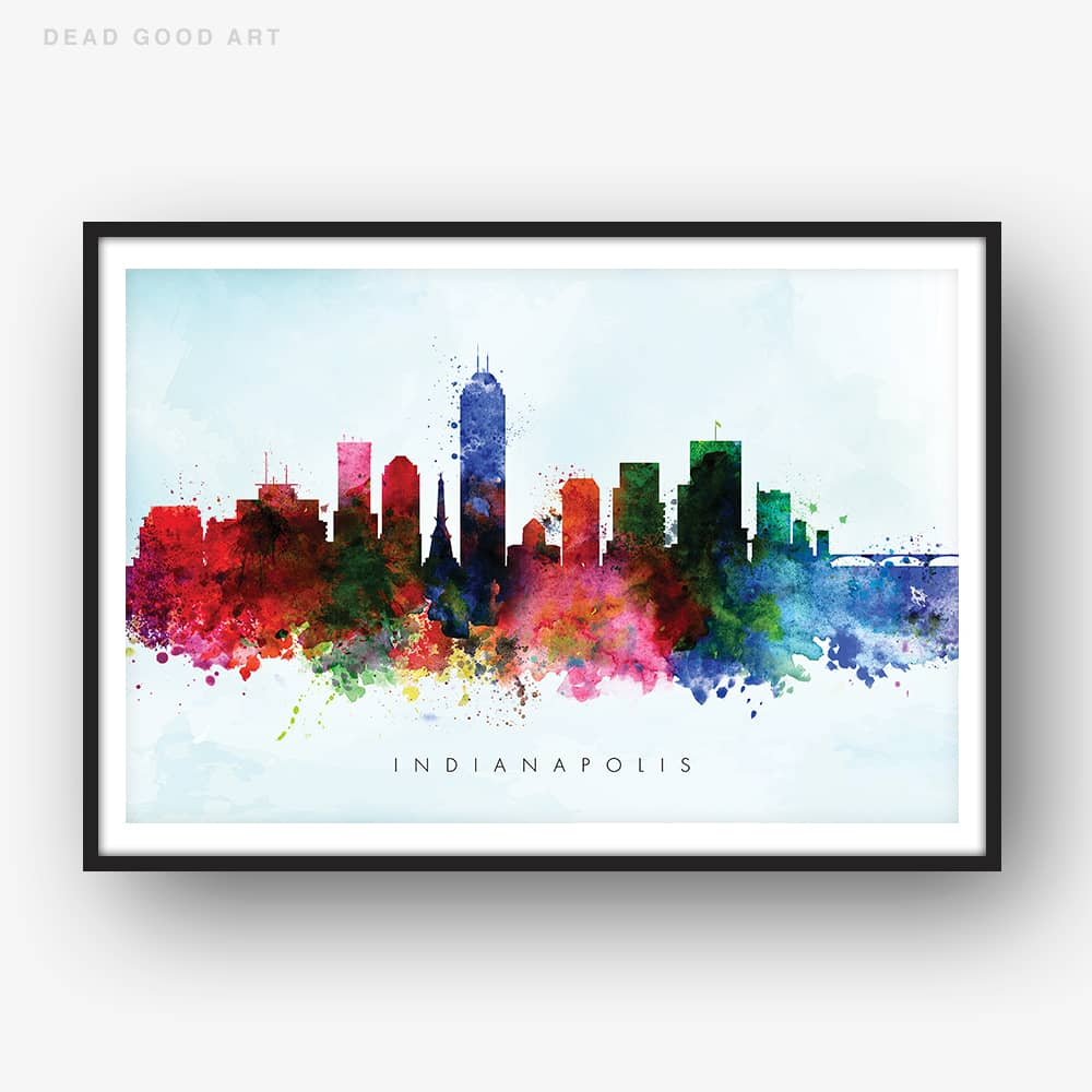 indianapolis skyline blue wash watercolor print