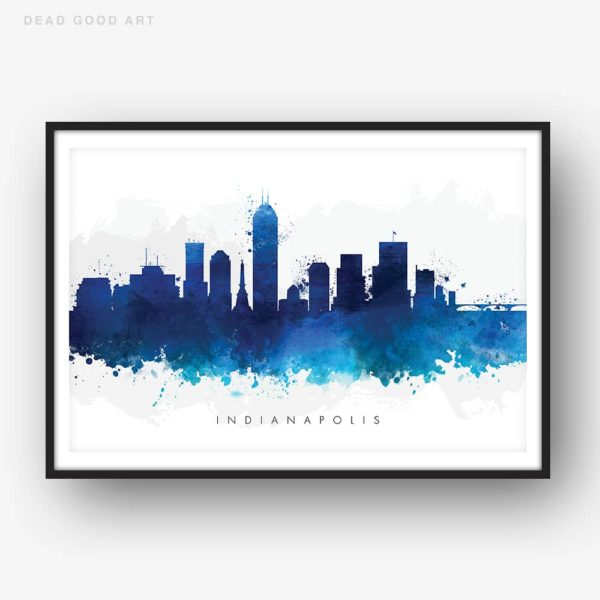 indianapolis skyline blue watercolor print