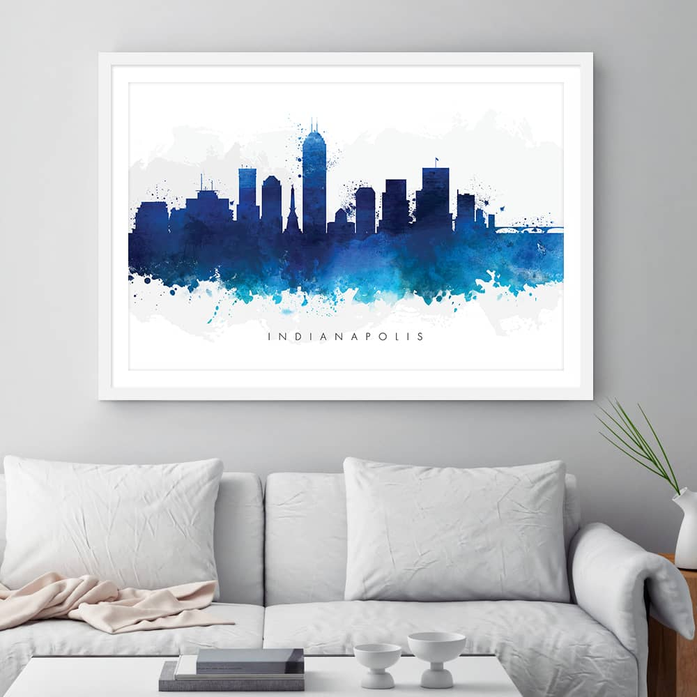 indianapolis skyline blue watercolor print framed