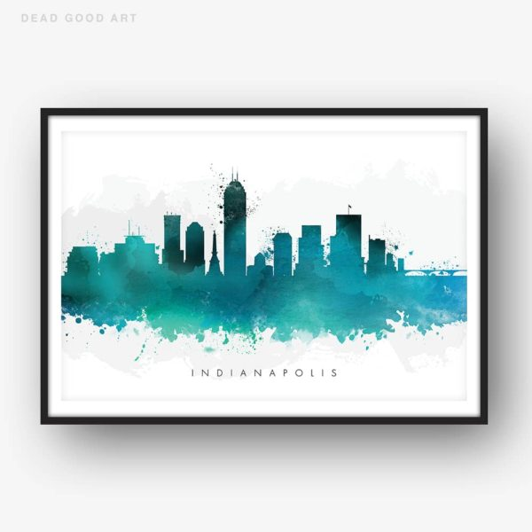 indianapolis skyline green watercolor print