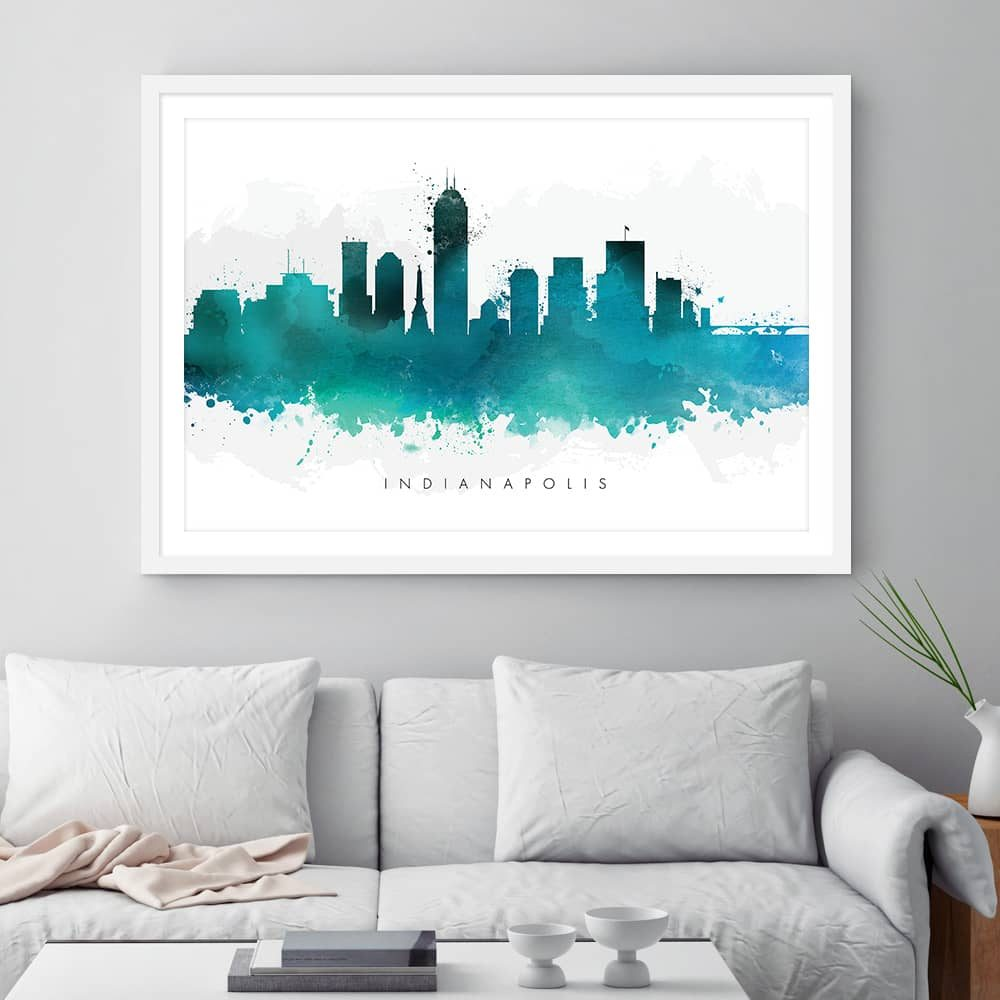 indianapolis skyline green watercolor print framed