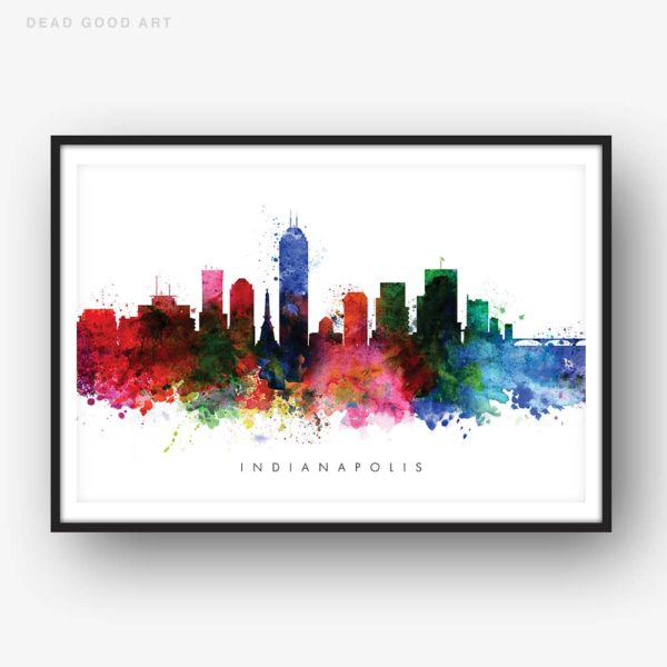 indianapolis skyline multi color watercolor print