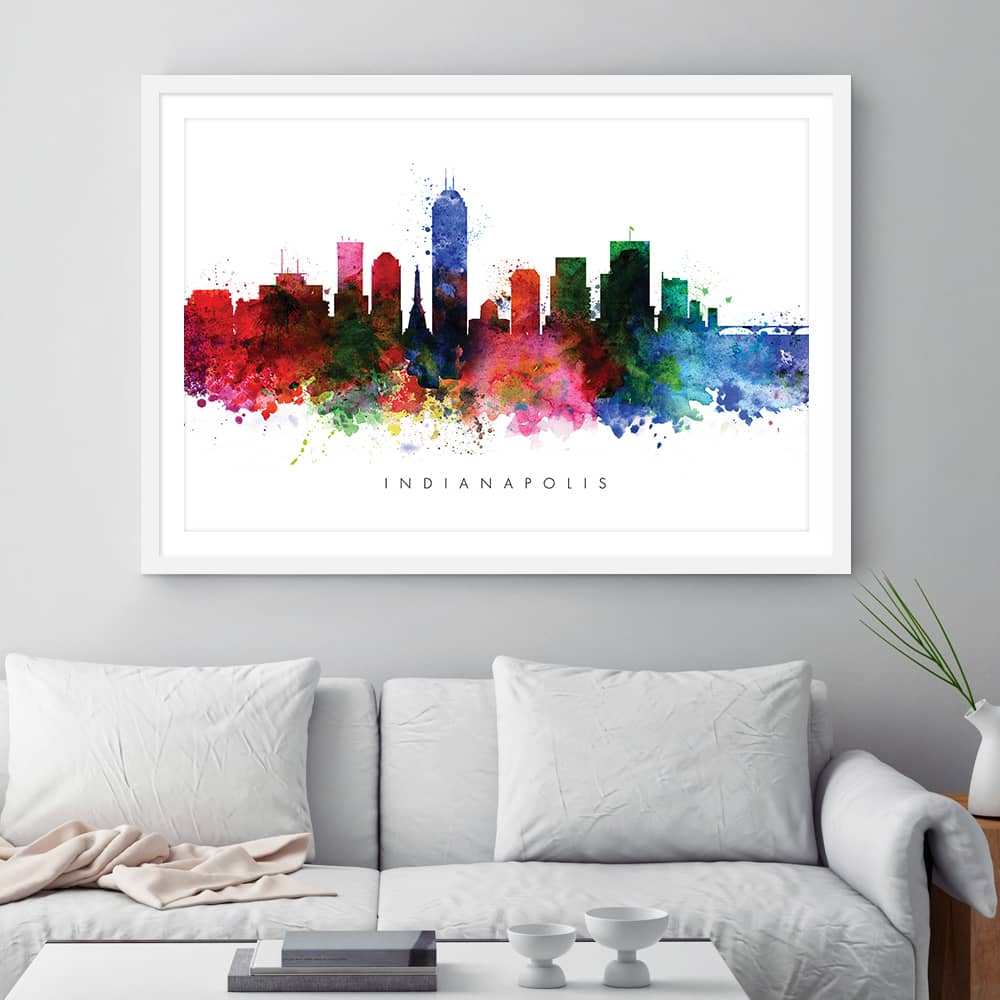 indianapolis skyline multi color watercolor print framed