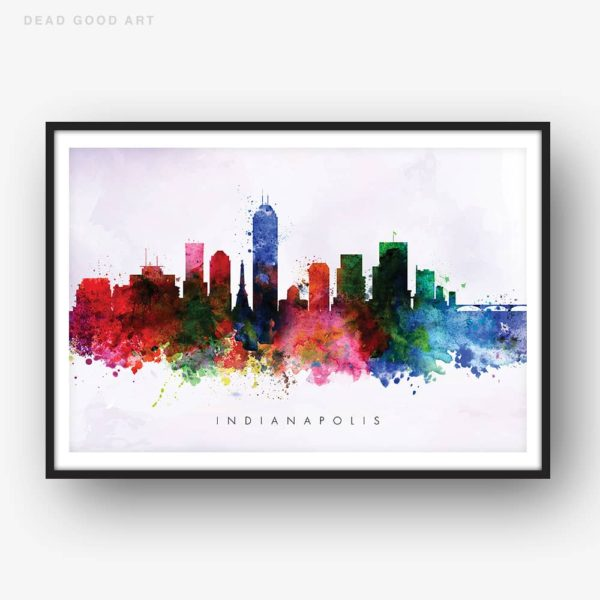 indianapolis skyline purple wash watercolor print