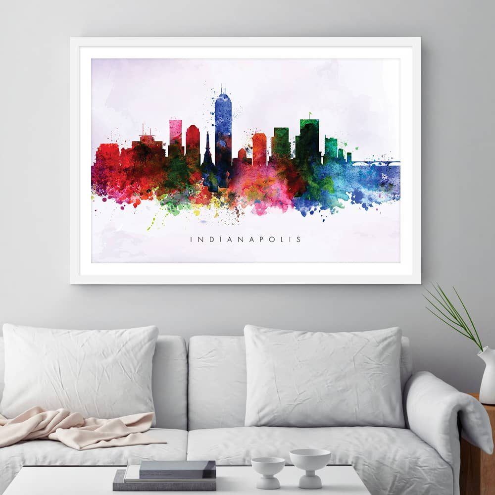 indianapolis skyline purple wash watercolor print framed