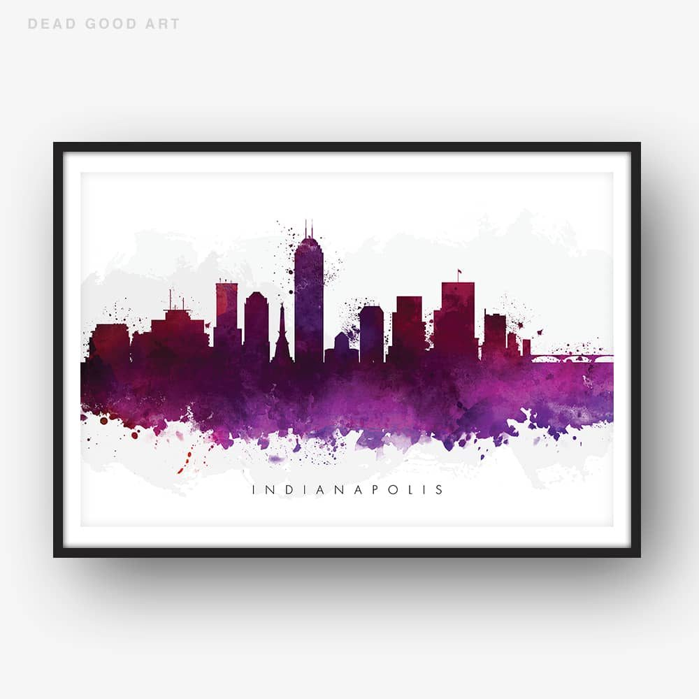 indianapolis skyline purple watercolor print