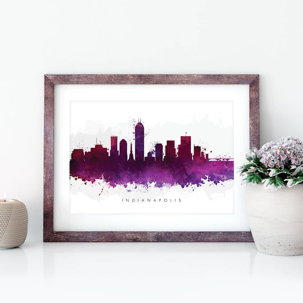 indianapolis skyline purple watercolor print closeup