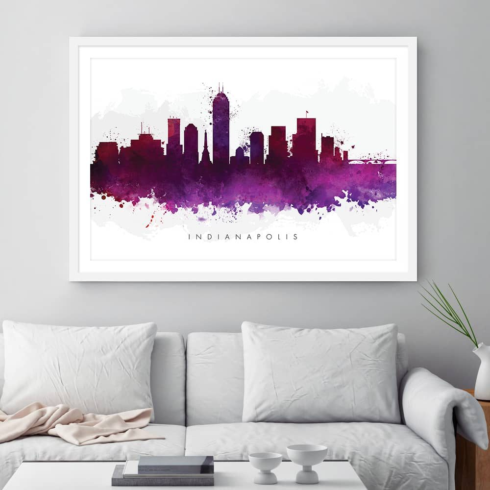 indianapolis skyline purple watercolor print framed