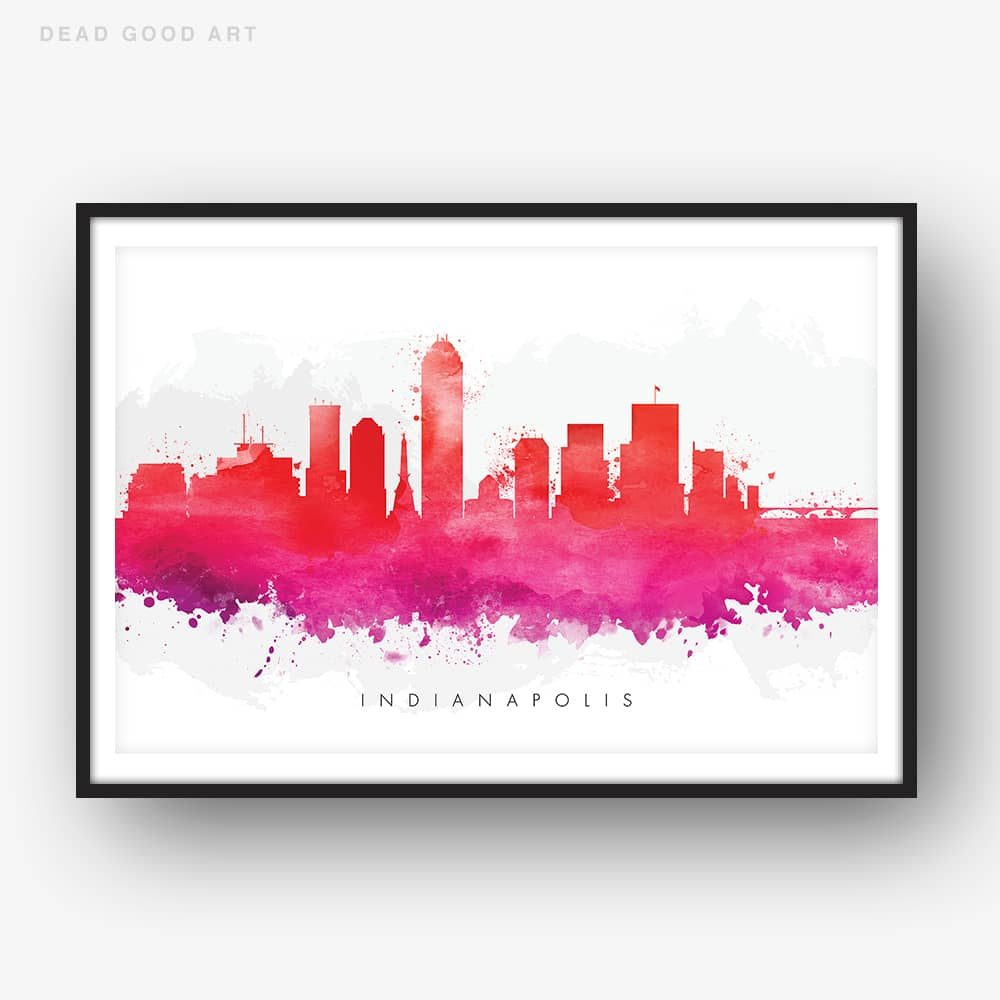 indianapolis skyline red watercolor print