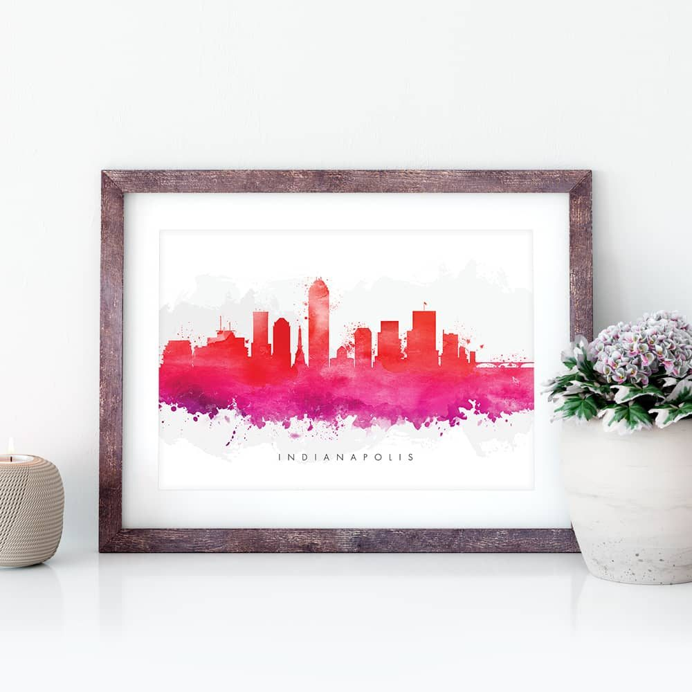indianapolis skyline red watercolor print closeup