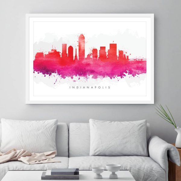indianapolis skyline red watercolor print framed