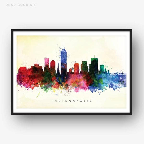 indianapolis skyline yellow wash watercolor print