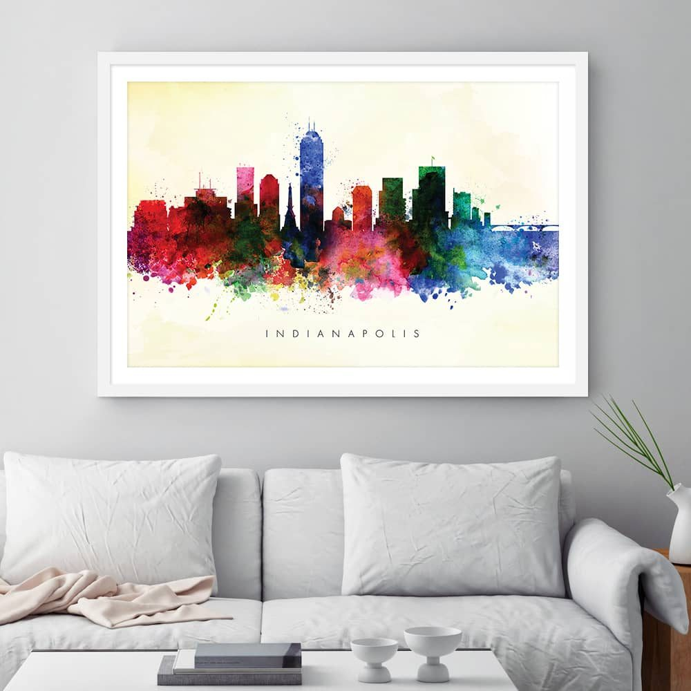 indianapolis skyline yellow wash watercolor print framed
