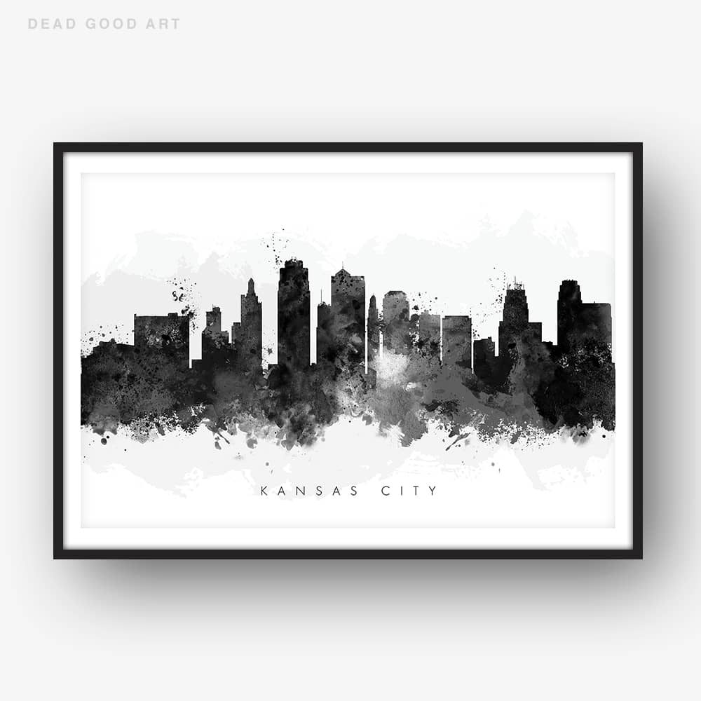 Kansas city skyline black white watercolor print