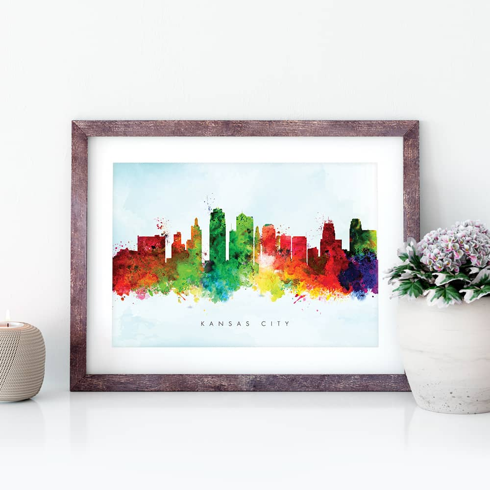 kansas city skyline blue wash watercolor print closeup