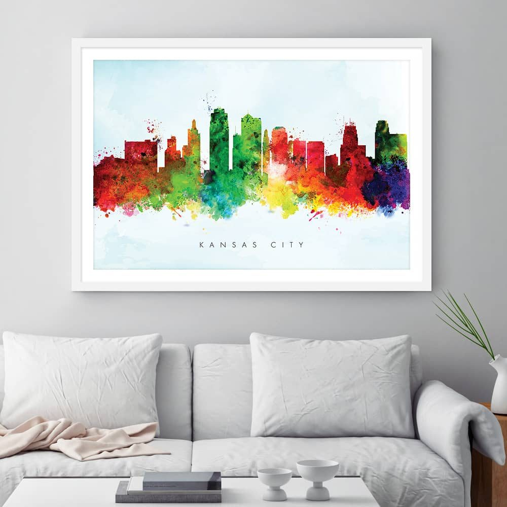 kansas city skyline blue wash watercolor print framed