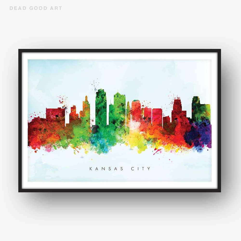 kansas city skyline blue wash watercolor print