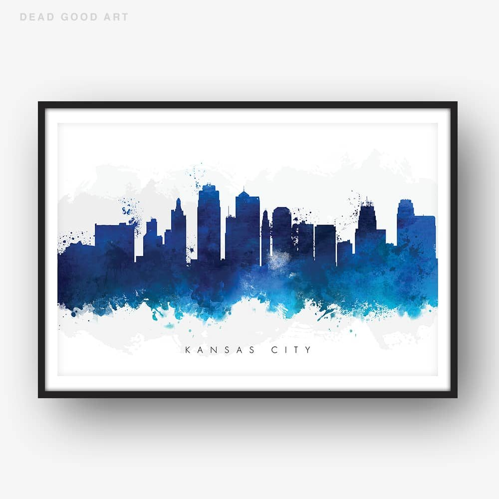 kansas city skyline blue watercolor print