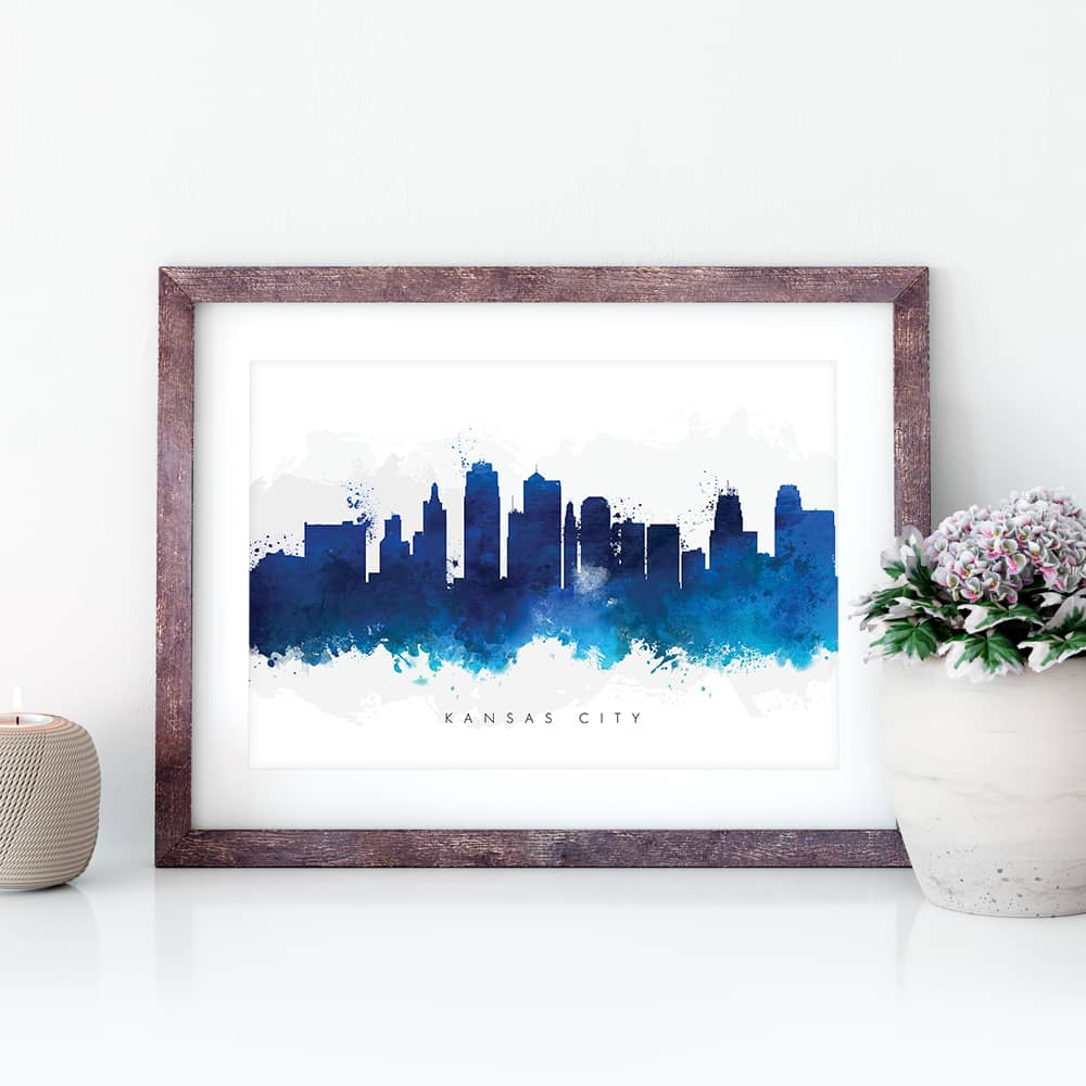 kansas city skyline blue watercolor print closeup