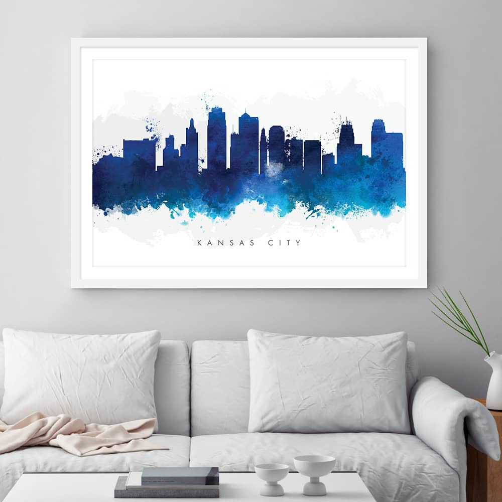 kansas city skyline blue watercolor print framed