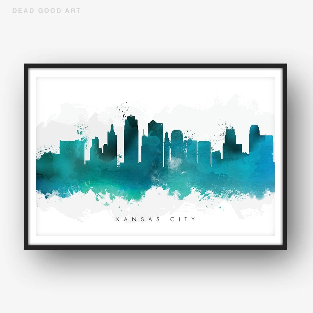 kansas city skyline green watercolor print