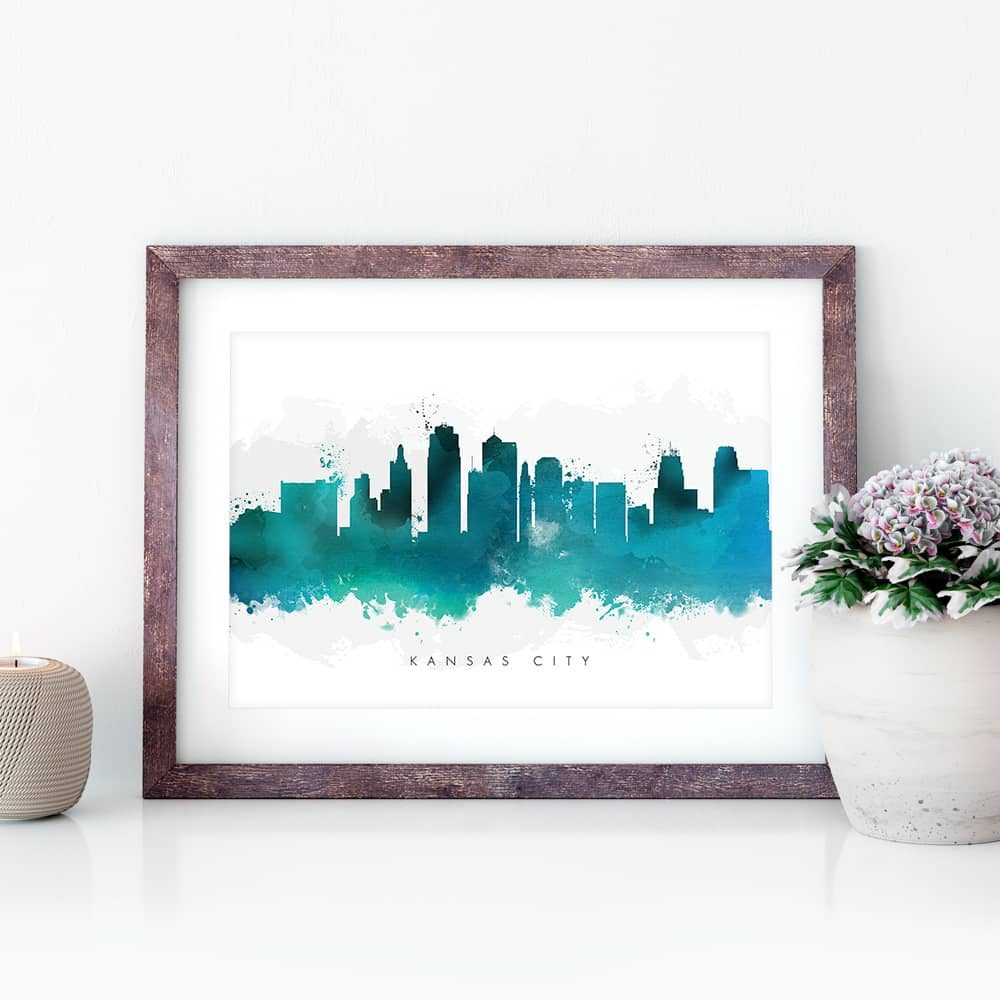 kansas city skyline green watercolor print closeup