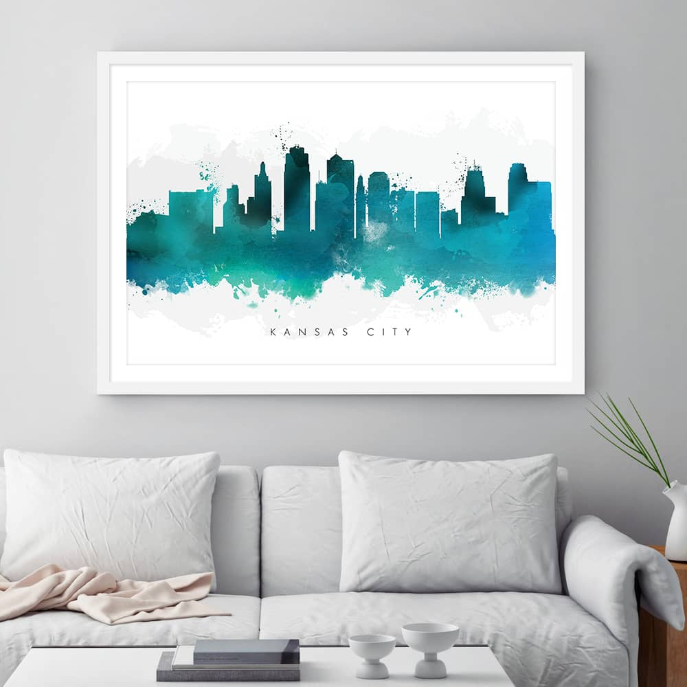 kansas city skyline green watercolor print framed