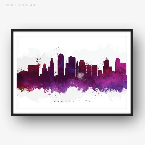 kansas city skyline purple watercolor print