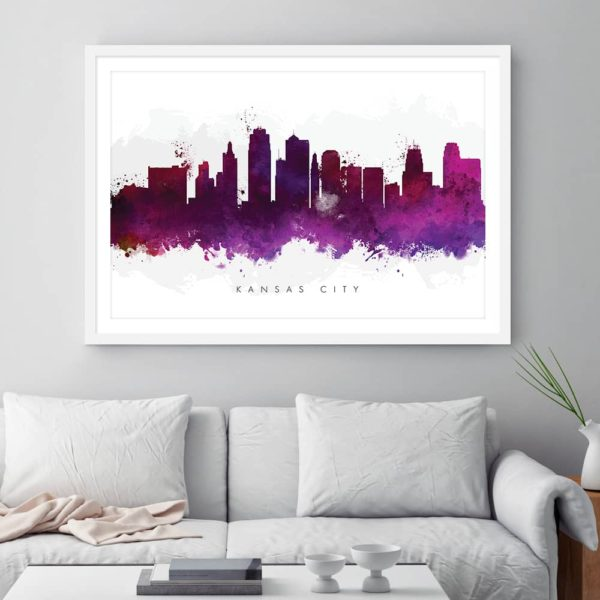 kansas city skyline purple watercolor print framed