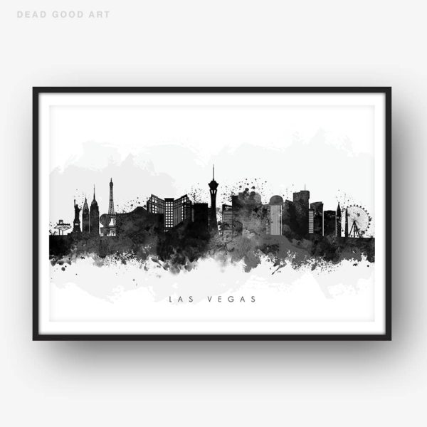 las vegas skyline black white watercolor print