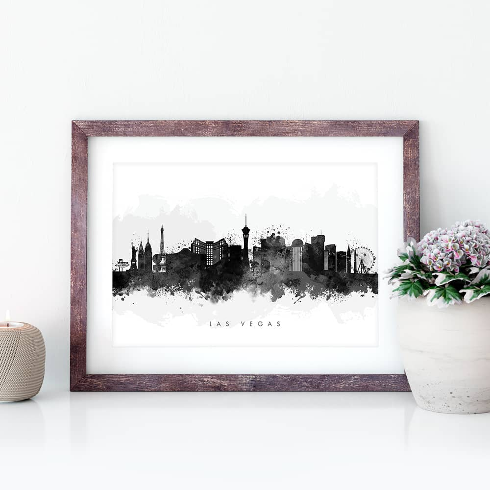 las vegas skyline black white watercolor print closeup