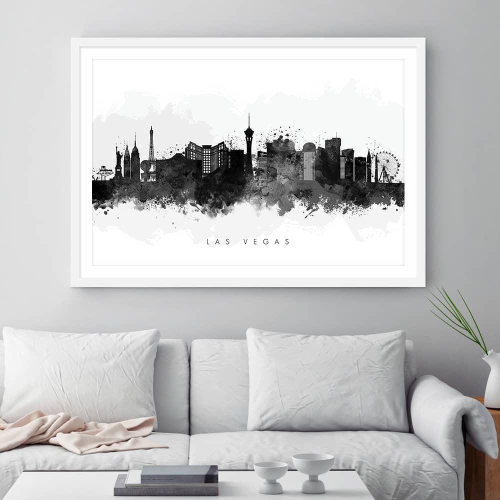 las vegas skyline black white watercolor print framed