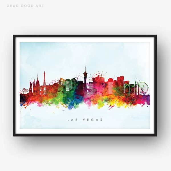 las vegas skyline blue wash watercolor print