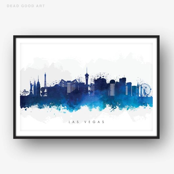 las vegas skyline blue watercolor print
